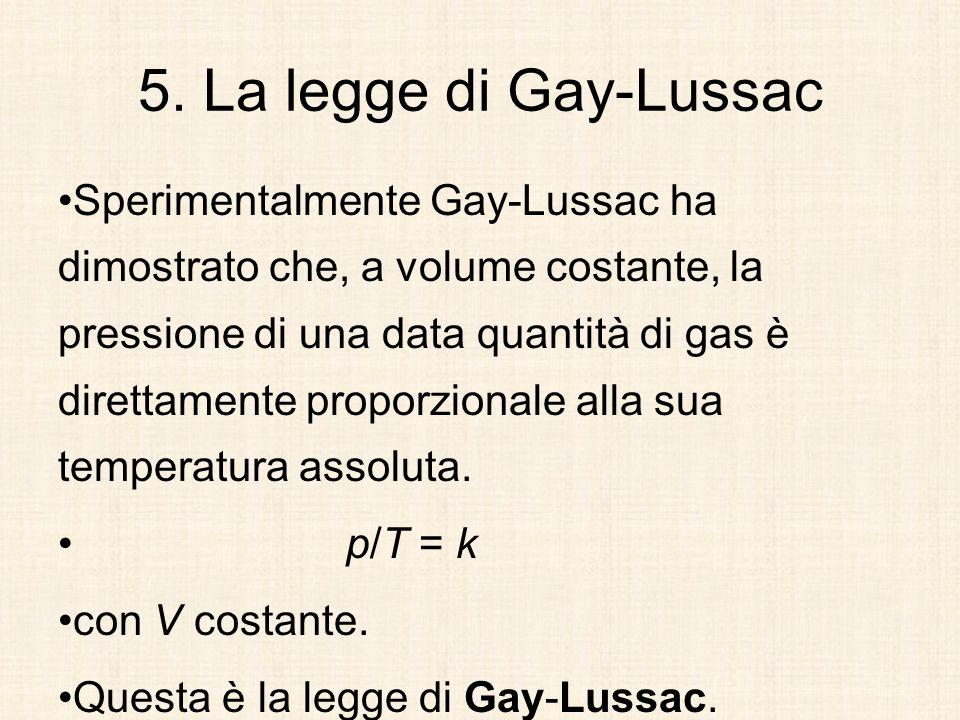 5. La legge di Gay-Lussac Sperimentalmente Gay-Lussac ha dimostrato che, a volume costante, la pressione di una data quantità di gas è direttamente pr