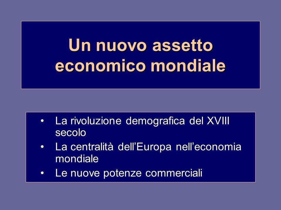 Un nuovo assetto economico mondiale La rivoluzione demografica del XVIII secolo La centralità dellEuropa nelleconomia mondiale Le nuove potenze commer