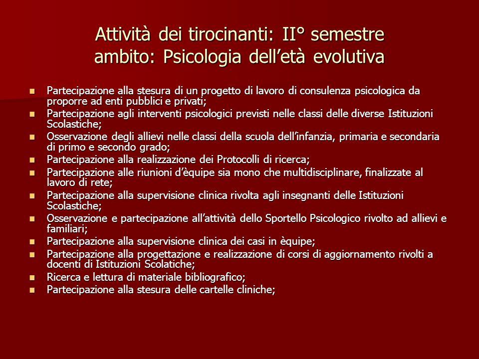 Attività dei tirocinanti: II° semestre ambito: Psicologia delletà evolutiva Partecipazione alla stesura di un progetto di lavoro di consulenza psicolo