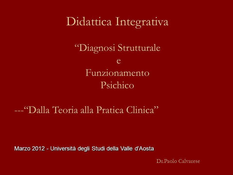 Didattica Integrativa Diagnosi Strutturale e Funzionamento Psichico ---Dalla Teoria alla Pratica Clinica Marzo 2012 - Università degli Studi della Val