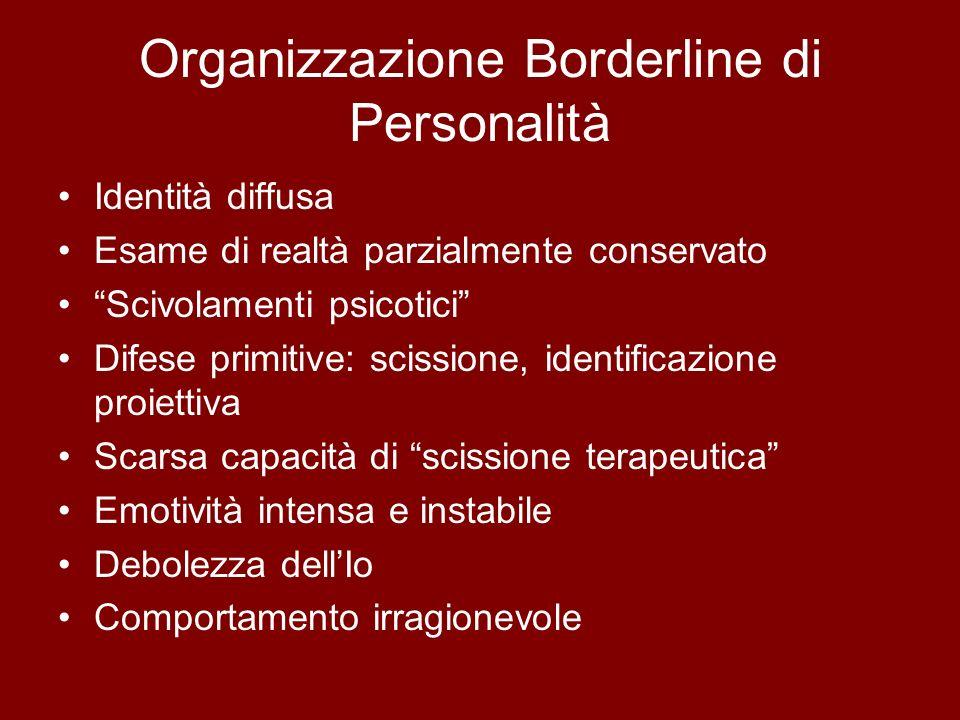 Organizzazione Borderline di Personalità Identità diffusa Esame di realtà parzialmente conservato Scivolamenti psicotici Difese primitive: scissione,