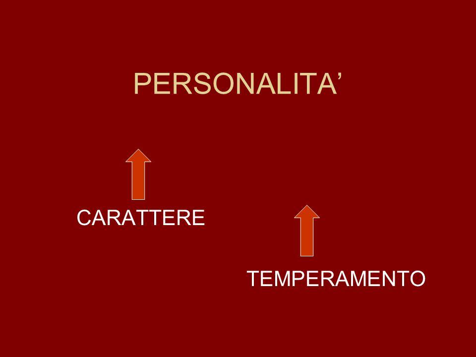 PERSONALITA CARATTERE TEMPERAMENTO