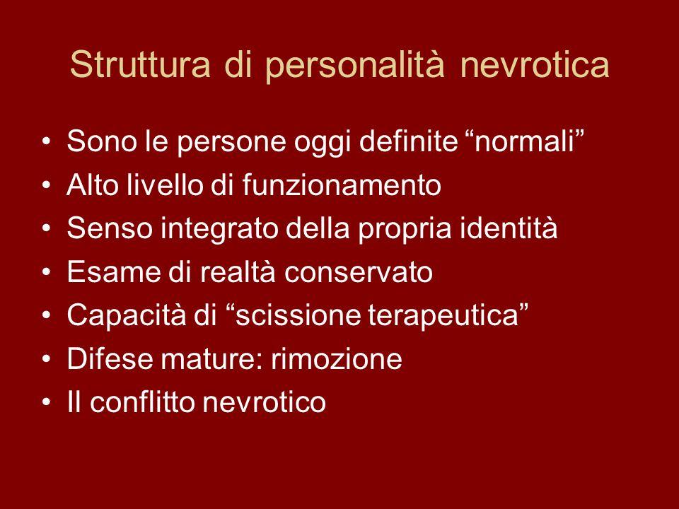 Struttura di personalità nevrotica Sono le persone oggi definite normali Alto livello di funzionamento Senso integrato della propria identità Esame di