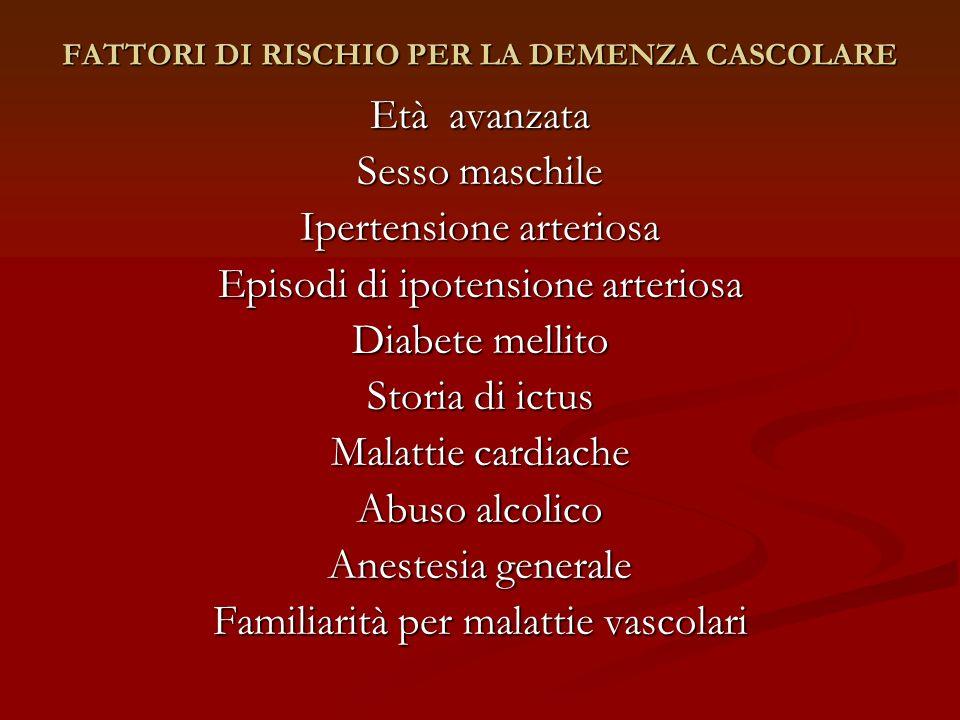 FATTORI DI RISCHIO PER LA DEMENZA CASCOLARE Età avanzata Sesso maschile Ipertensione arteriosa Episodi di ipotensione arteriosa Diabete mellito Storia