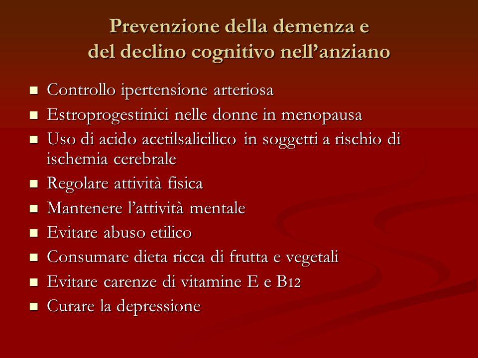 Prevenzione della demenza e del declino cognitivo nellanziano Controllo ipertensione arteriosa Controllo ipertensione arteriosa Estroprogestinici nell
