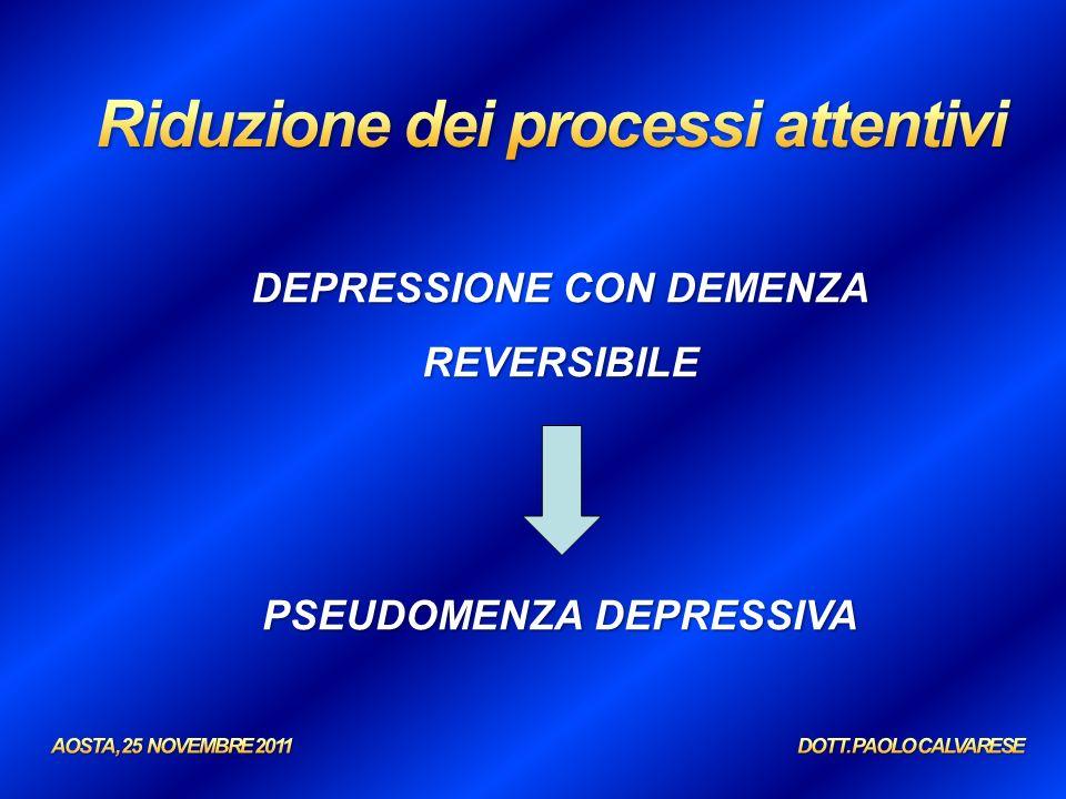 DEPRESSIONE CON DEMENZA REVERSIBILE PSEUDOMENZA DEPRESSIVA