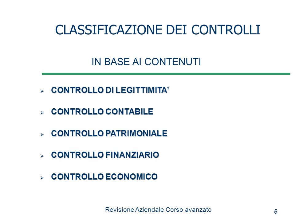 5 CONTROLLO DI LEGITTIMITA CONTROLLO DI LEGITTIMITA CONTROLLO CONTABILE CONTROLLO CONTABILE CONTROLLO PATRIMONIALE CONTROLLO PATRIMONIALE CONTROLLO FI