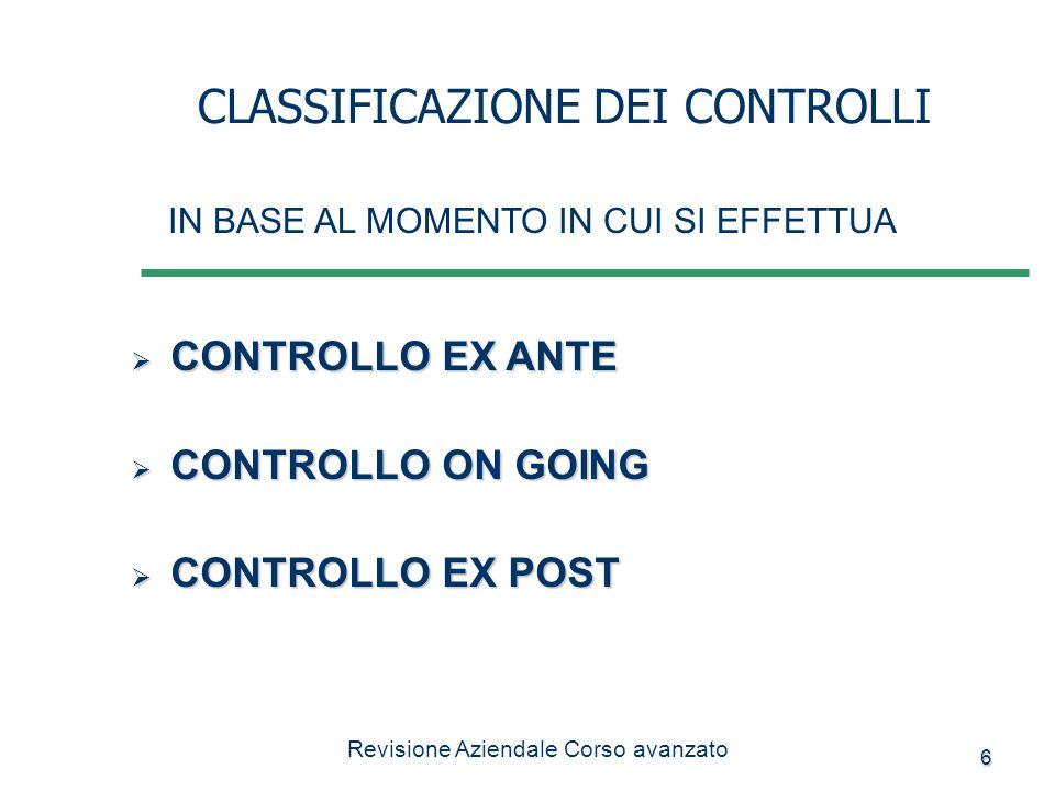 6 CONTROLLO EX ANTE CONTROLLO EX ANTE CONTROLLO ON GOING CONTROLLO ON GOING CONTROLLO EX POST CONTROLLO EX POST CLASSIFICAZIONE DEI CONTROLLI IN BASE