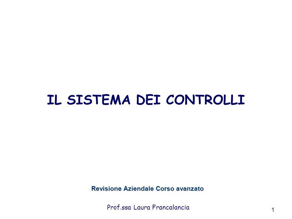 1 IL SISTEMA DEI CONTROLLI Revisione Aziendale Corso avanzato Prof.ssa Laura Francalancia