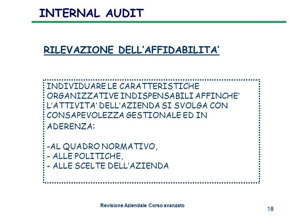 18 INTERNAL AUDIT Revisione Aziendale Corso avanzato INDIVIDUARE LE CARATTERISTICHE ORGANIZZATIVE INDISPENSABILI AFFINCHE LATTIVITA DELLAZIENDA SI SVO