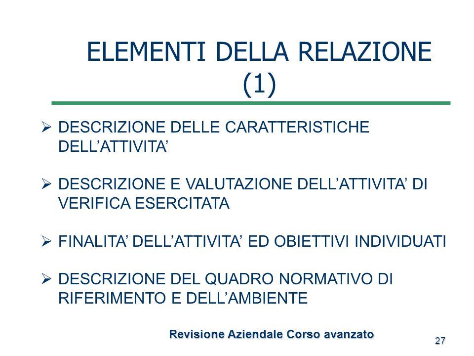 27 Revisione Aziendale Corso avanzato Revisione Aziendale Corso avanzato ELEMENTI DELLA RELAZIONE (1) DESCRIZIONE DELLE CARATTERISTICHE DELLATTIVITA D