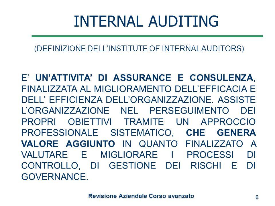 6 Revisione Aziendale Corso avanzato Revisione Aziendale Corso avanzato INTERNAL AUDITING (DEFINIZIONE DELLINSTITUTE OF INTERNAL AUDITORS) E UNATTIVIT