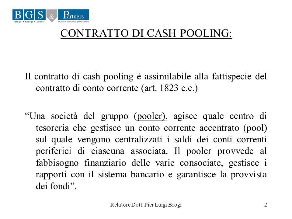 Relatore Dott. Pier Luigi Brogi2 CONTRATTO DI CASH POOLING: Il contratto di cash pooling è assimilabile alla fattispecie del contratto di conto corren