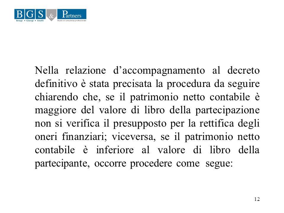 12 Nella relazione daccompagnamento al decreto definitivo è stata precisata la procedura da seguire chiarendo che, se il patrimonio netto contabile è