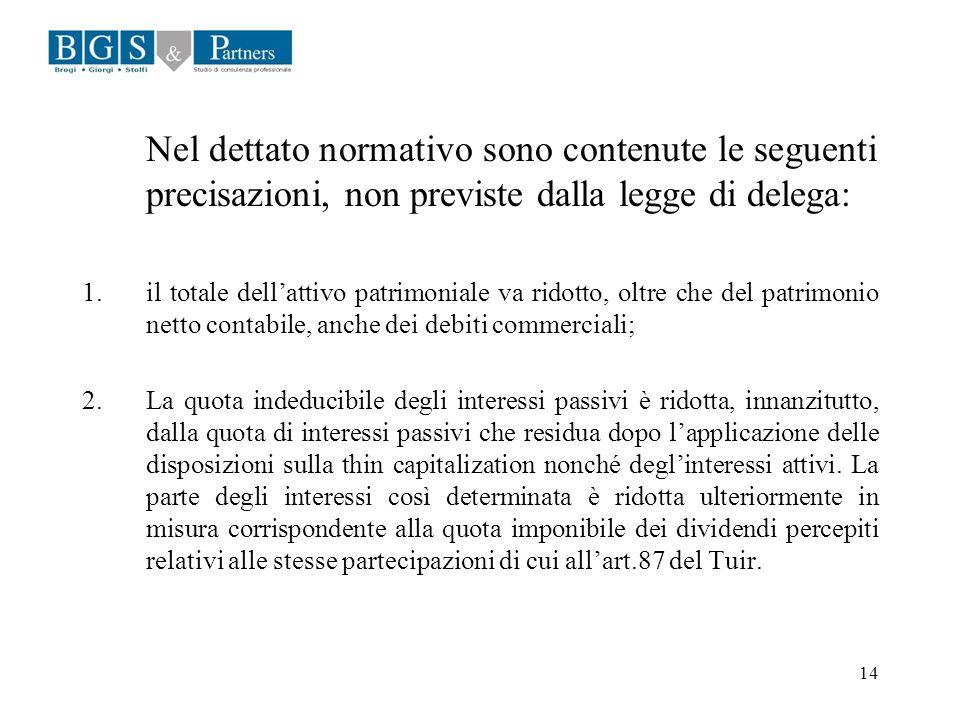 14 Nel dettato normativo sono contenute le seguenti precisazioni, non previste dalla legge di delega: 1.il totale dellattivo patrimoniale va ridotto,