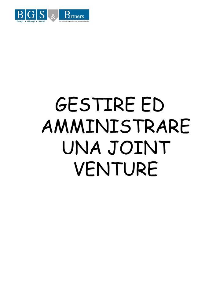 GESTIRE ED AMMINISTRARE UNA JOINT VENTURE