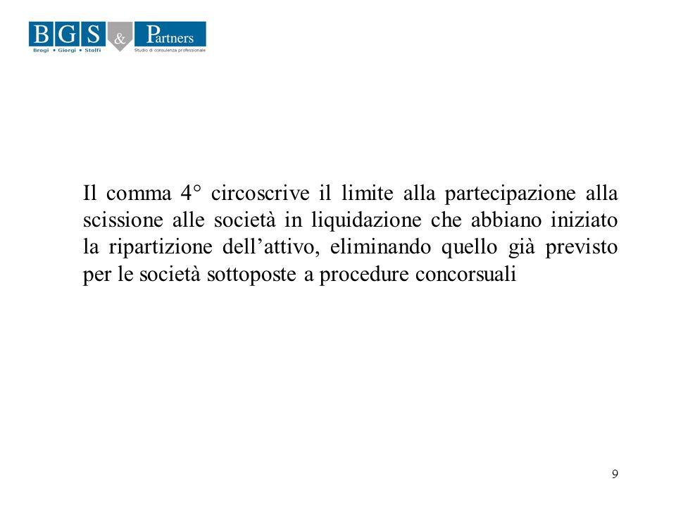 9 Il comma 4° circoscrive il limite alla partecipazione alla scissione alle società in liquidazione che abbiano iniziato la ripartizione dellattivo, e