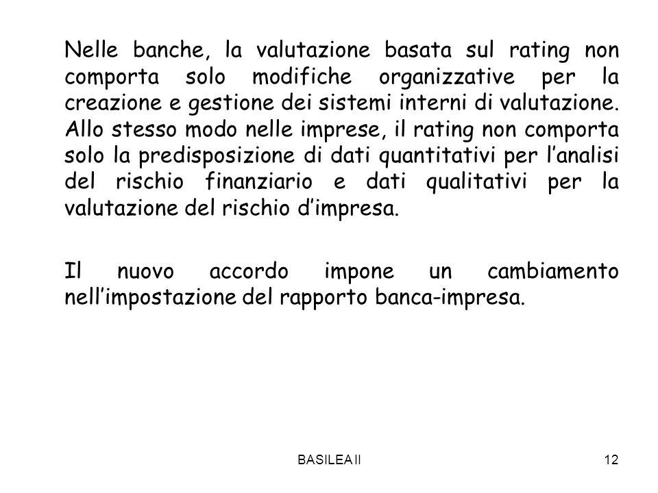 BASILEA II12 Nelle banche, la valutazione basata sul rating non comporta solo modifiche organizzative per la creazione e gestione dei sistemi interni di valutazione.