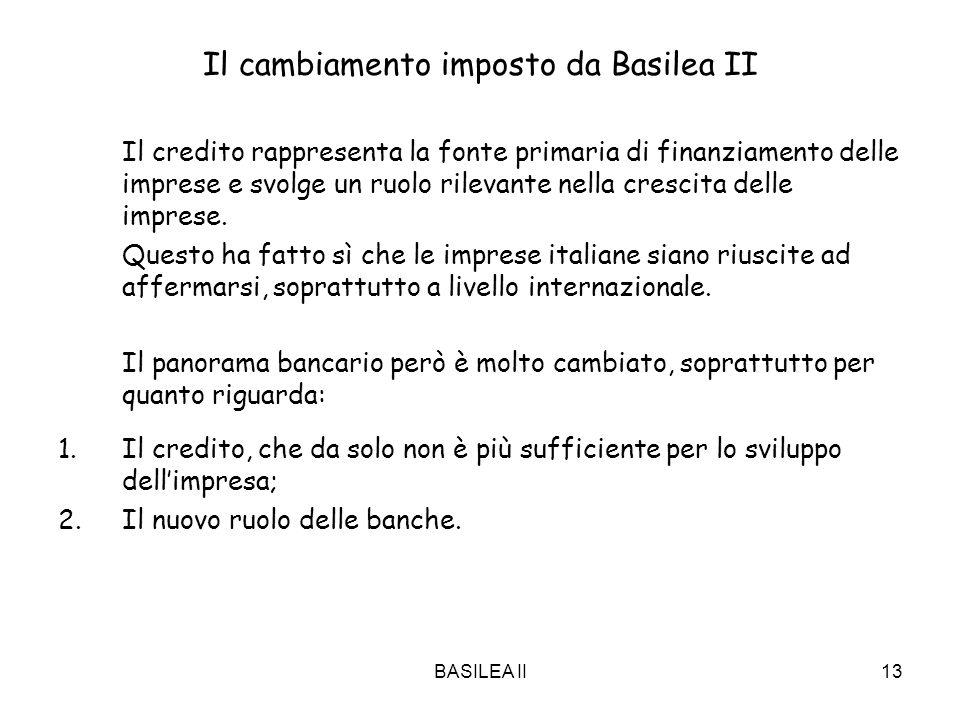BASILEA II13 Il cambiamento imposto da Basilea II Il credito rappresenta la fonte primaria di finanziamento delle imprese e svolge un ruolo rilevante nella crescita delle imprese.