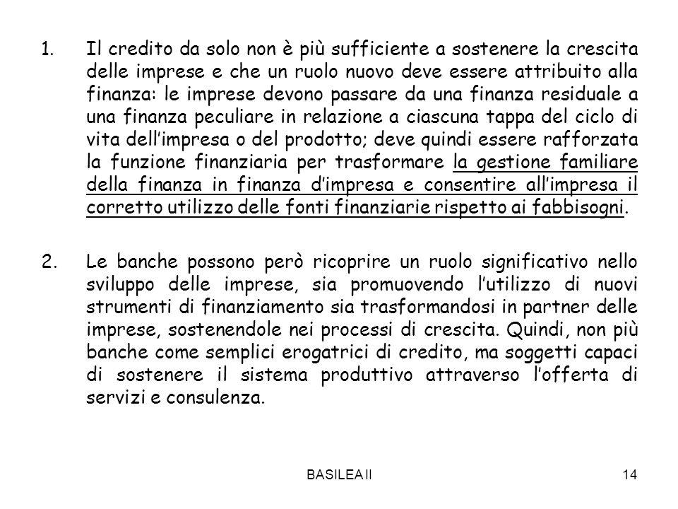 BASILEA II14 1.Il credito da solo non è più sufficiente a sostenere la crescita delle imprese e che un ruolo nuovo deve essere attribuito alla finanza