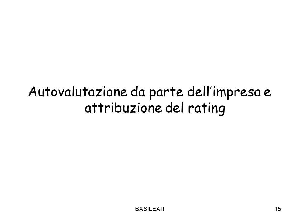 BASILEA II15 Autovalutazione da parte dellimpresa e attribuzione del rating