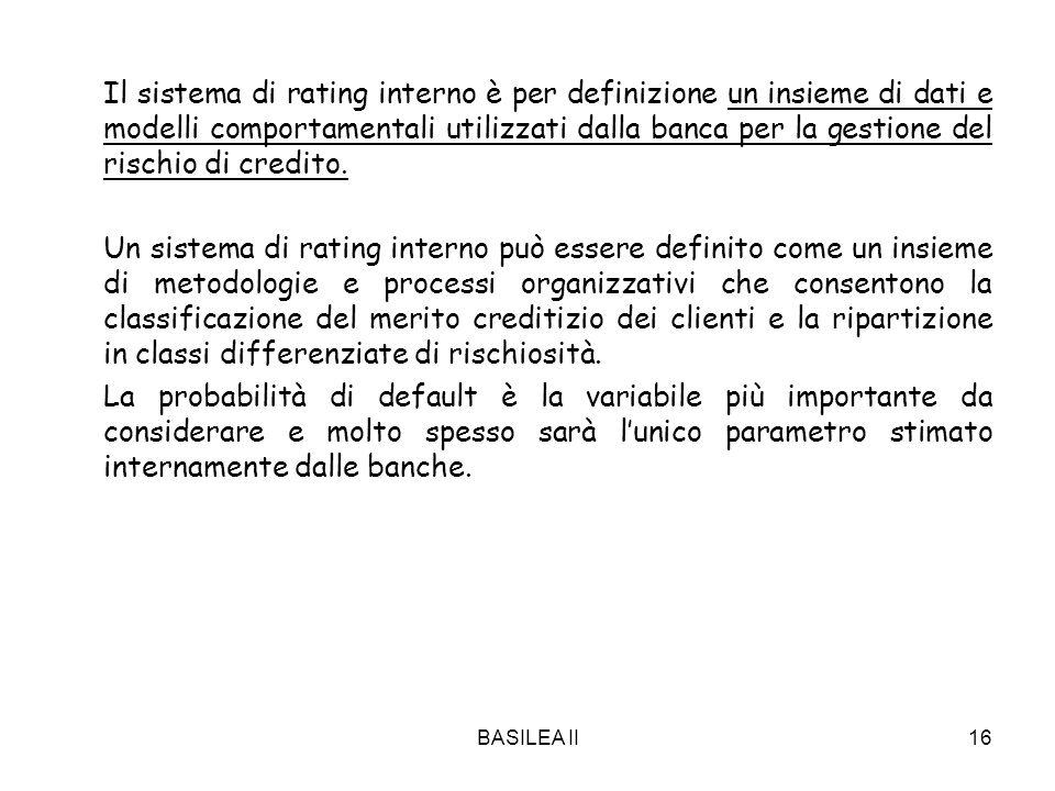 BASILEA II16 Il sistema di rating interno è per definizione un insieme di dati e modelli comportamentali utilizzati dalla banca per la gestione del ri