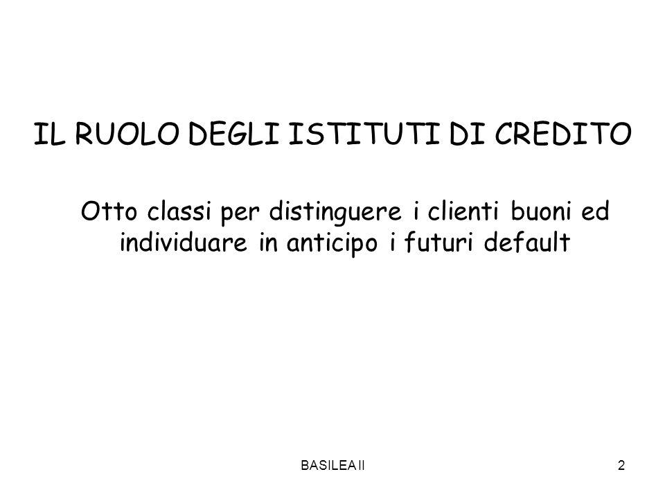 BASILEA II2 IL RUOLO DEGLI ISTITUTI DI CREDITO Otto classi per distinguere i clienti buoni ed individuare in anticipo i futuri default