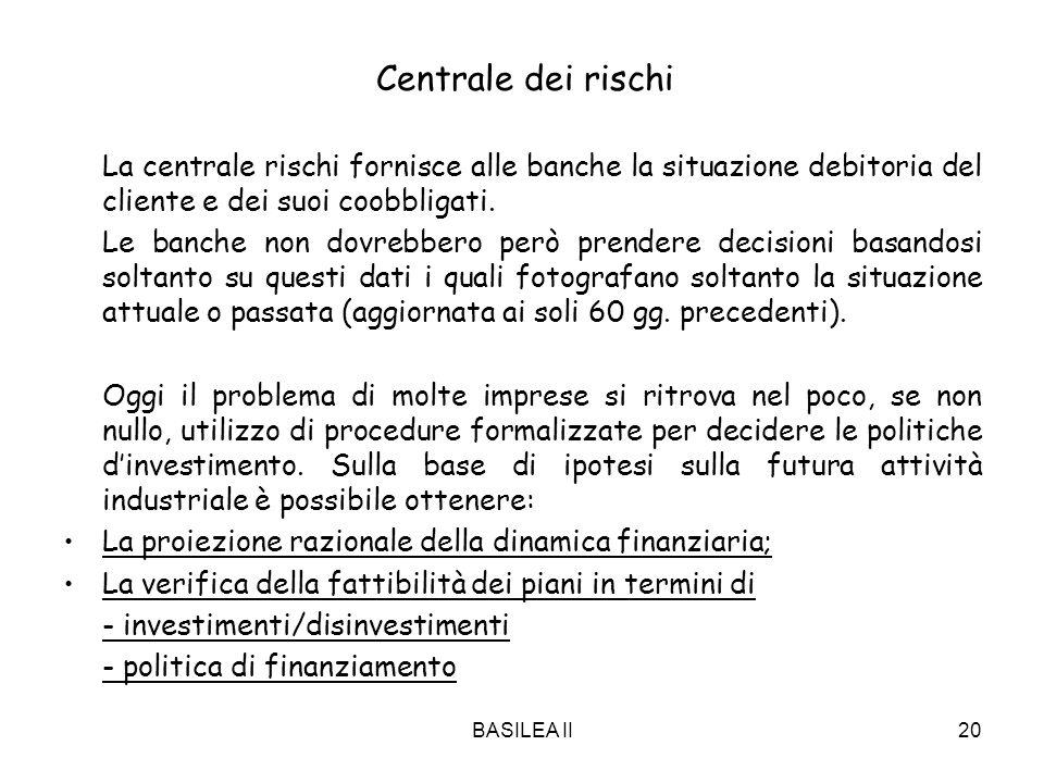 BASILEA II20 Centrale dei rischi La centrale rischi fornisce alle banche la situazione debitoria del cliente e dei suoi coobbligati. Le banche non dov