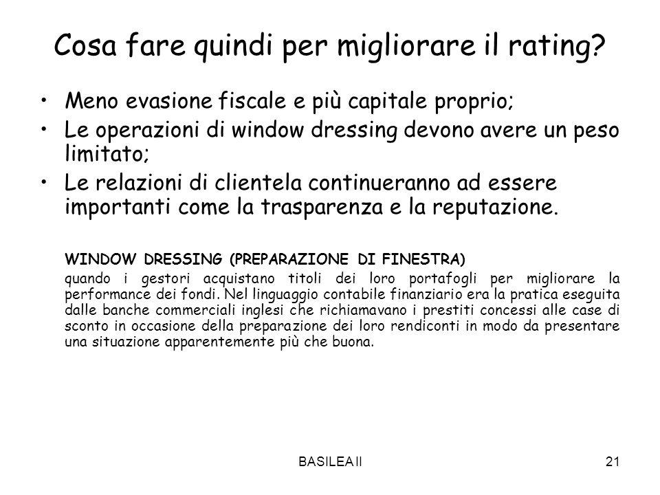 BASILEA II21 Cosa fare quindi per migliorare il rating? Meno evasione fiscale e più capitale proprio; Le operazioni di window dressing devono avere un