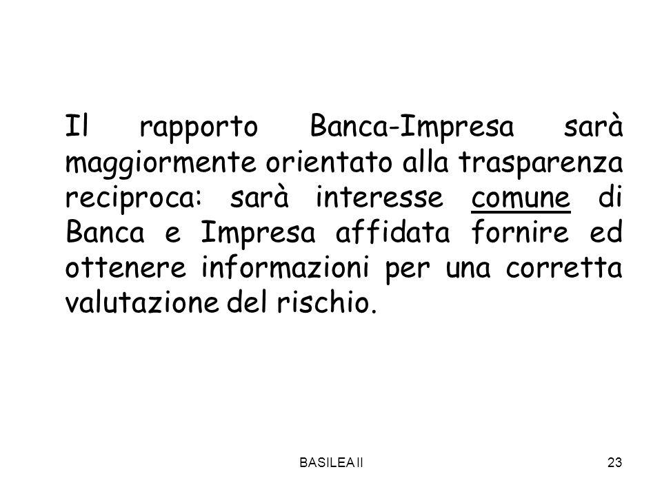 BASILEA II23 Il rapporto Banca-Impresa sarà maggiormente orientato alla trasparenza reciproca: sarà interesse comune di Banca e Impresa affidata forni