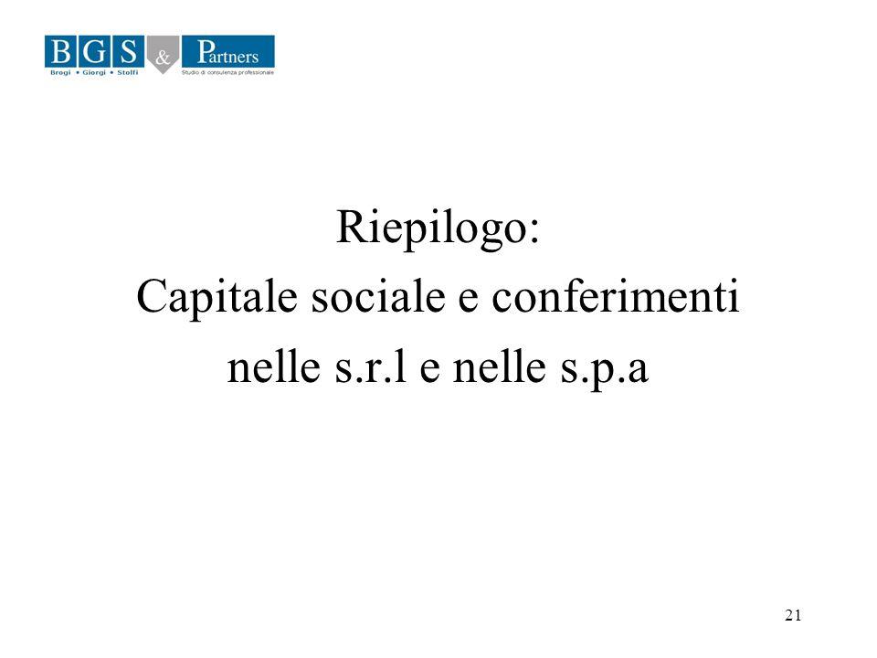 21 Riepilogo: Capitale sociale e conferimenti nelle s.r.l e nelle s.p.a