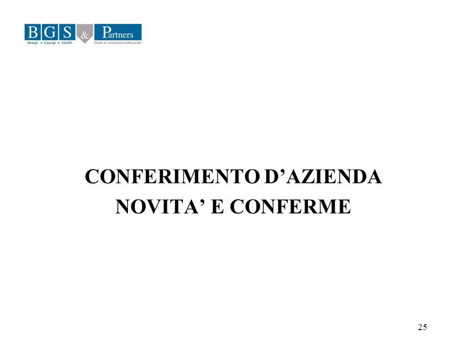 25 CONFERIMENTO DAZIENDA NOVITA E CONFERME