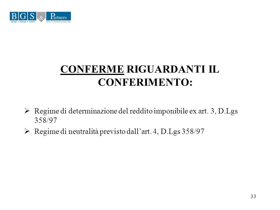33 CONFERME RIGUARDANTI IL CONFERIMENTO: Regime di determinazione del reddito imponibile ex art. 3, D.Lgs 358/97 Regime di neutralità previsto dallart