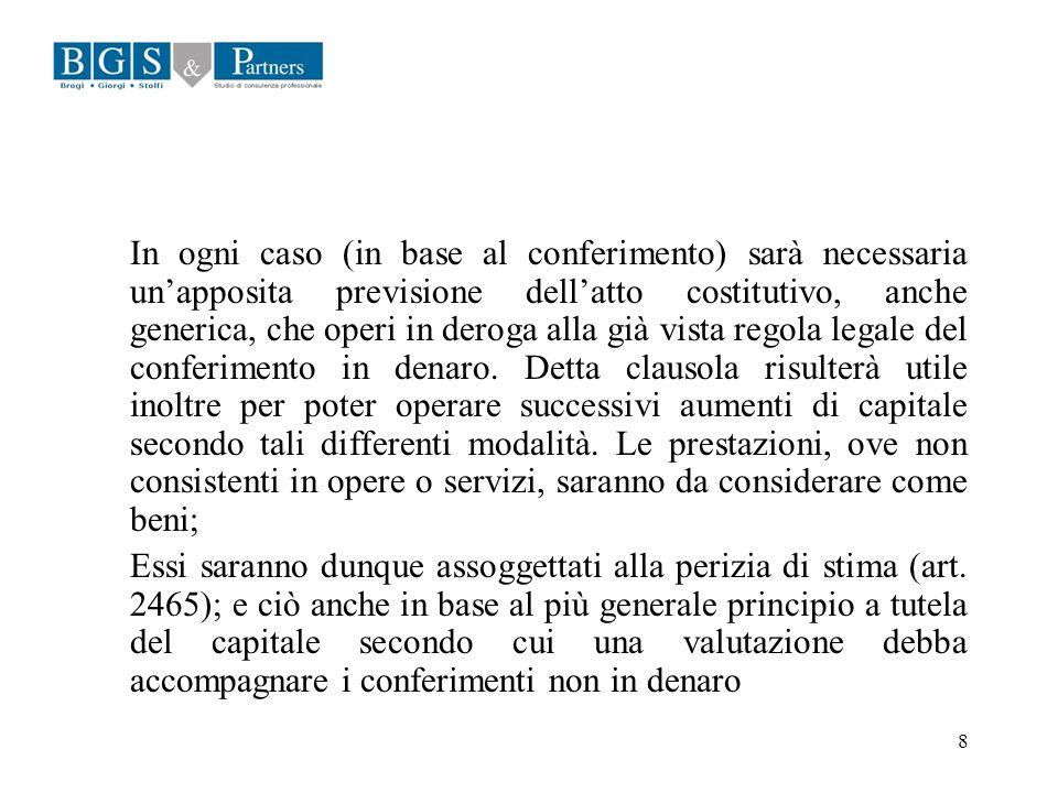 8 In ogni caso (in base al conferimento) sarà necessaria unapposita previsione dellatto costitutivo, anche generica, che operi in deroga alla già vist