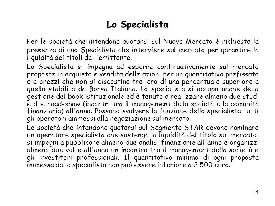 14 Lo Specialista Per le società che intendono quotarsi sul Nuovo Mercato è richiesta la presenza di uno Specialista che interviene sul mercato per garantire la liquidità dei titoli dell emittente.