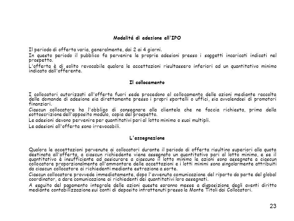 23 Modalitá di adesione all'IPO Il periodo di offerta varia, generalmente, dai 2 ai 4 giorni. In questo periodo il pubblico fa pervenire le proprie ad