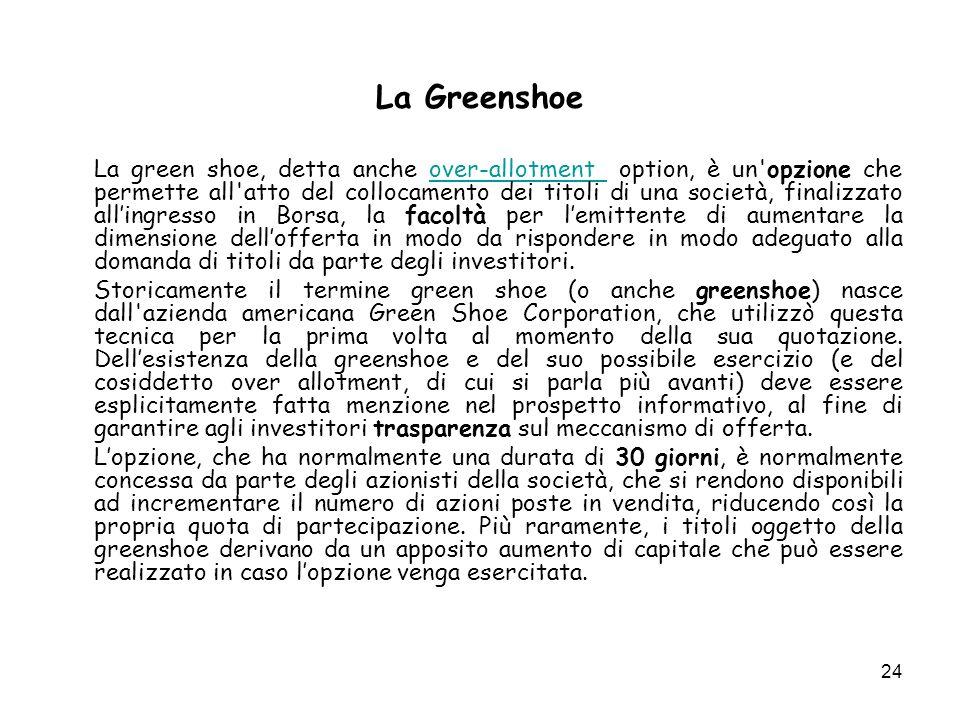 24 La Greenshoe La green shoe, detta anche over-allotment option, è un opzione che permette all atto del collocamento dei titoli di una società, finalizzato allingresso in Borsa, la facoltà per lemittente di aumentare la dimensione dellofferta in modo da rispondere in modo adeguato alla domanda di titoli da parte degli investitori.over-allotment Storicamente il termine green shoe (o anche greenshoe) nasce dall azienda americana Green Shoe Corporation, che utilizzò questa tecnica per la prima volta al momento della sua quotazione.