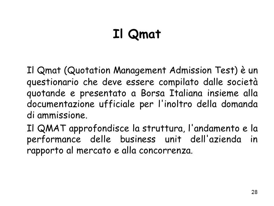 28 Il Qmat Il Qmat (Quotation Management Admission Test) è un questionario che deve essere compilato dalle società quotande e presentato a Borsa Italiana insieme alla documentazione ufficiale per l inoltro della domanda di ammissione.