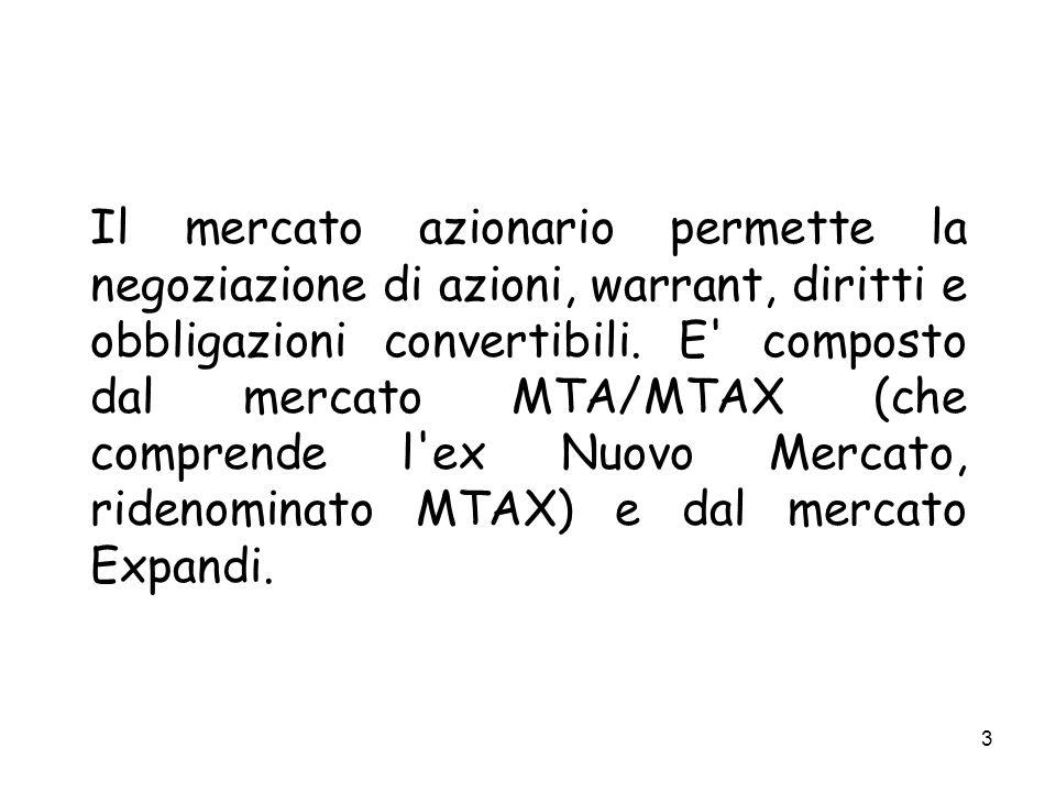 4 Il mercato MTA/MTAX si suddivide in tre segmenti: Blue Chip: dedicato alle società appartenenti agli indici S&P/MIB e Midex e alle altre società che hanno una struttura economico finanziaria particolarmente solida e una capitalizzazione superiore ad un miliardo di euro.