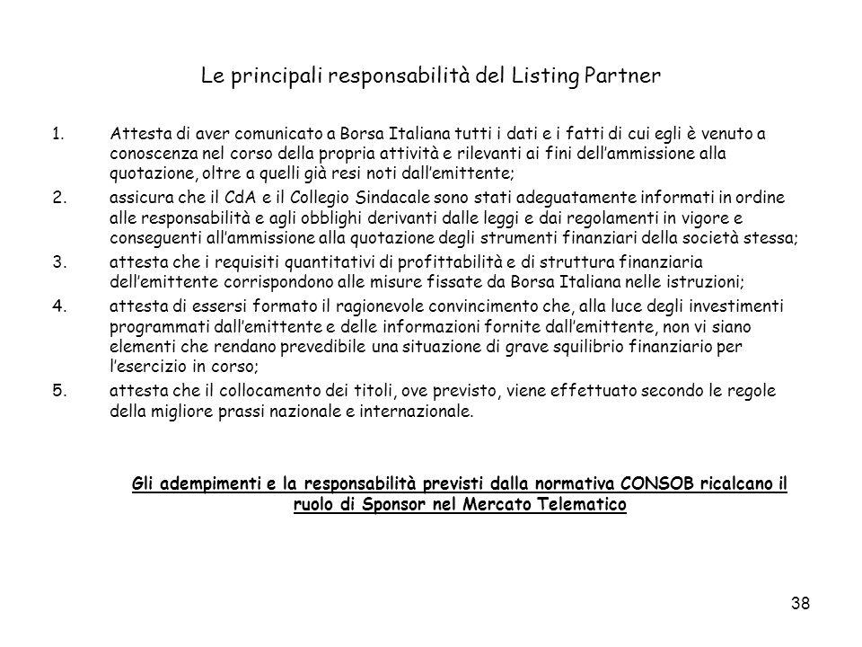 38 Le principali responsabilità del Listing Partner 1.Attesta di aver comunicato a Borsa Italiana tutti i dati e i fatti di cui egli è venuto a conosc