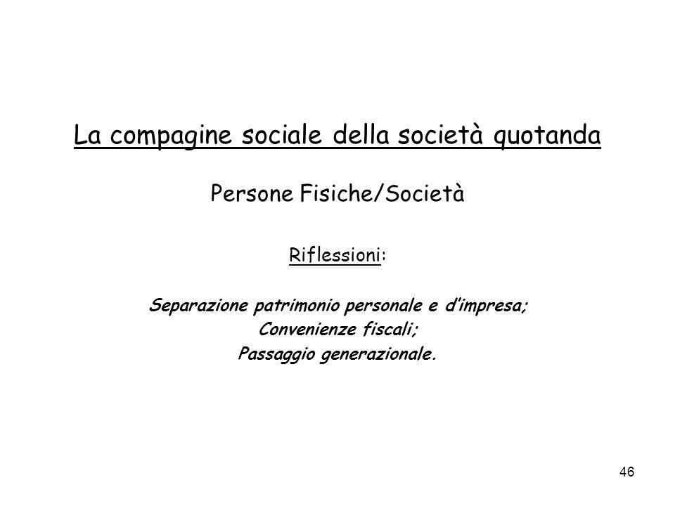 46 La compagine sociale della società quotanda Persone Fisiche/Società Riflessioni: Separazione patrimonio personale e dimpresa; Convenienze fiscali; Passaggio generazionale.