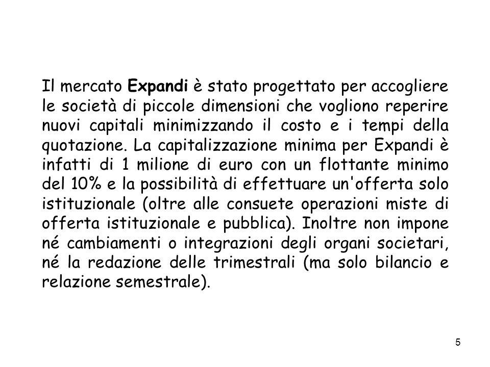 5 Il mercato Expandi è stato progettato per accogliere le società di piccole dimensioni che vogliono reperire nuovi capitali minimizzando il costo e i tempi della quotazione.