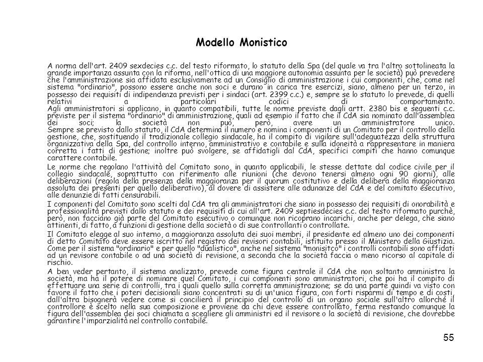 55 Modello Monistico A norma dell'art. 2409 sexdecies c.c. del testo riformato, lo statuto della Spa (del quale va tra l'altro sottolineata la grande