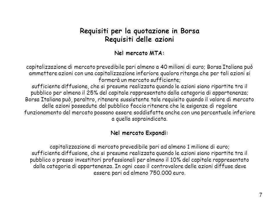 7 Requisiti per la quotazione in Borsa Requisiti delle azioni Nel mercato MTA: capitalizzazione di mercato prevedibile pari almeno a 40 milioni di eur
