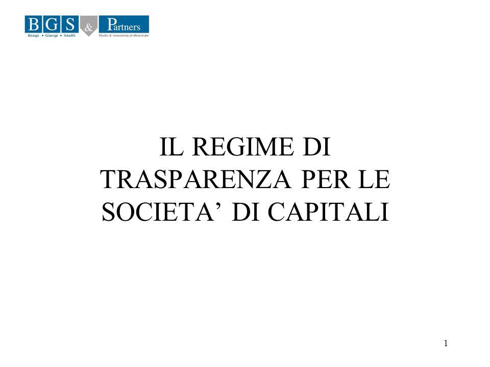 1 IL REGIME DI TRASPARENZA PER LE SOCIETA DI CAPITALI