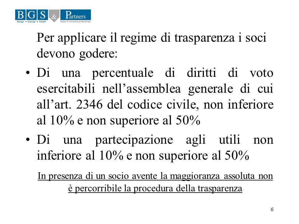 6 Per applicare il regime di trasparenza i soci devono godere: Di una percentuale di diritti di voto esercitabili nellassemblea generale di cui allart