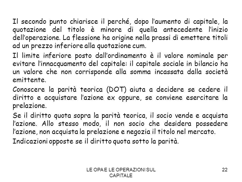 LE OPA E LE OPERAZIONI SUL CAPITALE 22 Il secondo punto chiarisce il perché, dopo laumento di capitale, la quotazione del titolo è minore di quella an