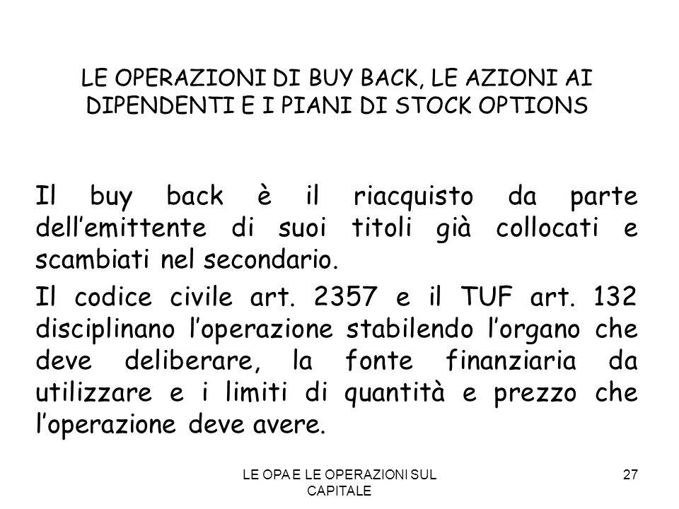 LE OPA E LE OPERAZIONI SUL CAPITALE 27 LE OPERAZIONI DI BUY BACK, LE AZIONI AI DIPENDENTI E I PIANI DI STOCK OPTIONS Il buy back è il riacquisto da pa