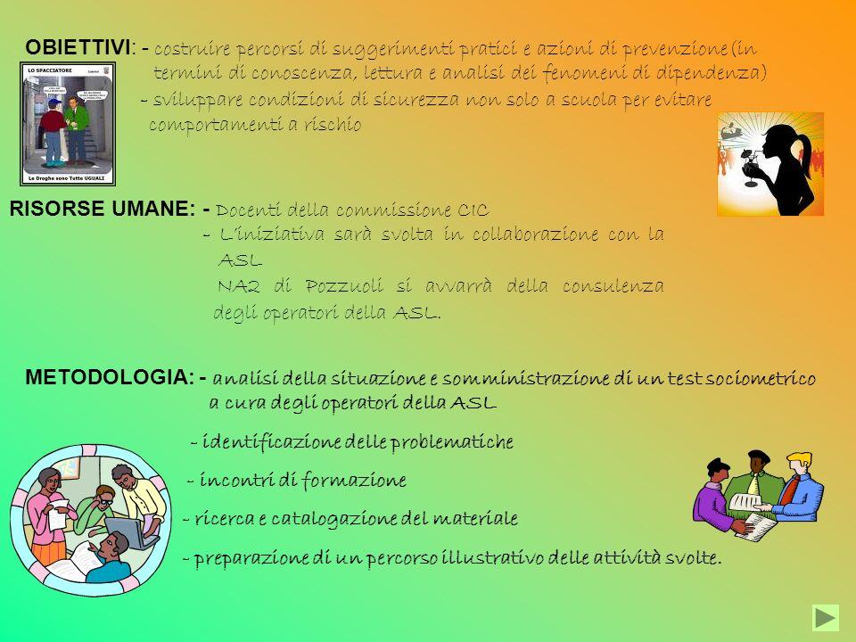 OBIETTIVI: - costruire percorsi di suggerimenti pratici e azioni di prevenzione(in termini di conoscenza, lettura e analisi dei fenomeni di dipendenza) - sviluppare condizioni di sicurezza non solo a scuola per evitare comportamenti a rischio RISORSE UMANE: - Docenti della commissione CIC - Liniziativa sarà svolta in collaborazione con la ASL NA2 di Pozzuoli si avvarrà della consulenza degli operatori della ASL.