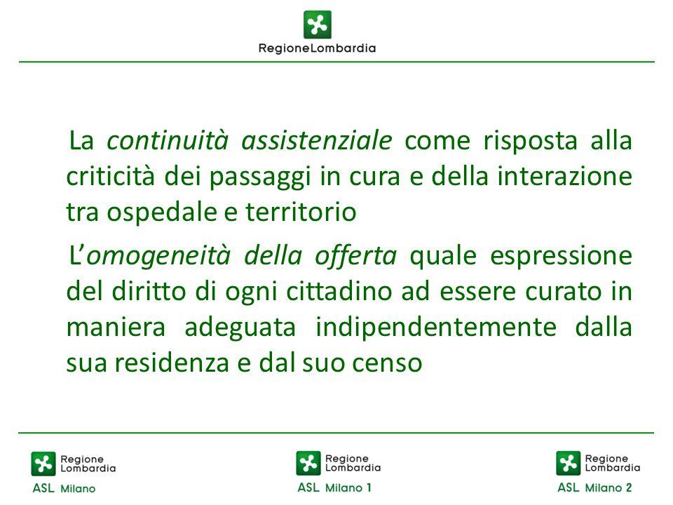 La continuità assistenziale come risposta alla criticità dei passaggi in cura e della interazione tra ospedale e territorio Lomogeneità della offerta